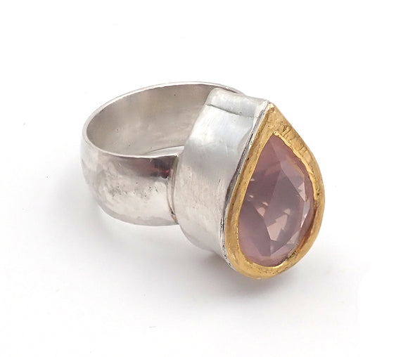 """NZ Jewellery"" ""New Zealand Jewellery"" ""NZ Made"" ""NZ handmade"" ""nz handmade ring"" ""handmade ring"" ""nz ring"" ""ring"" ""silver ring"" ""gold ring"" ""penelope barnhill"" ""teardrop ring"" ""pearshape"" ""rose quartz"" ""rose quartz ring"""