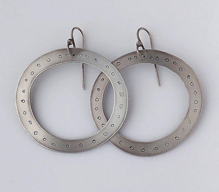 Medium Etched Discs with Dots Earrings