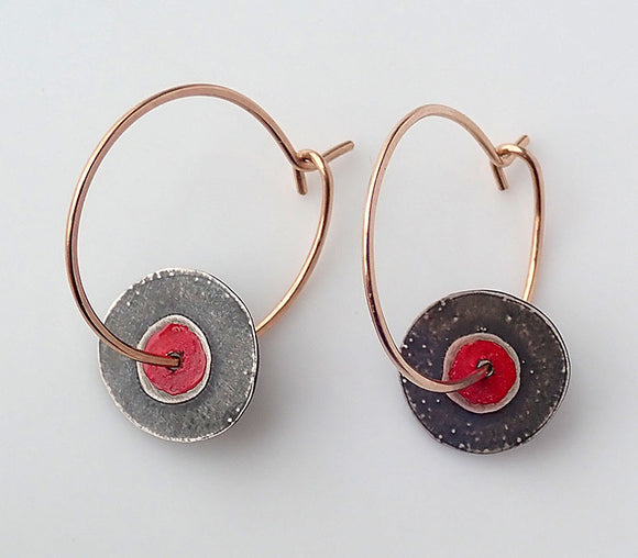 Tiny Red Paint Disc & Gold Hoop Earrings