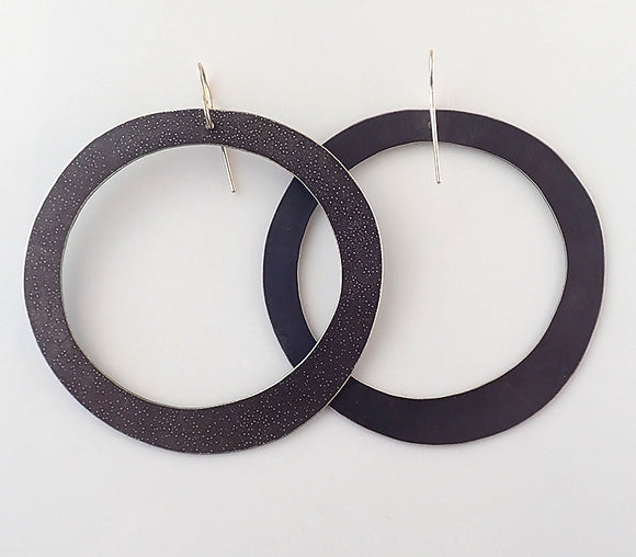 Large Etched Cut Out Circle Earrings