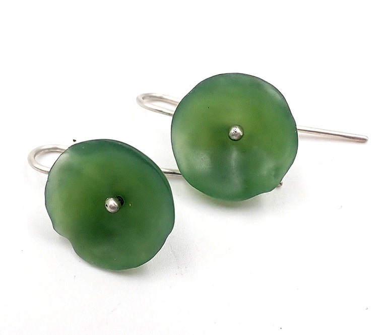 Large Flower Pounamu Earrings