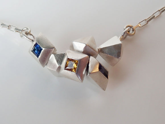 cluster pendant sapphire sterling silver nz jewellery Cheryl Sills