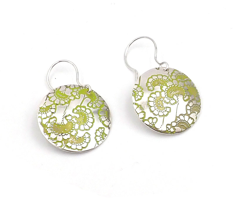 Etched Circle Earrings
