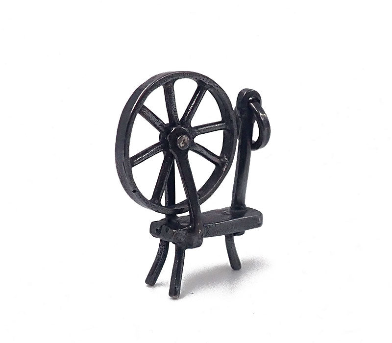 Spinning Wheel Charm (Oxidised)