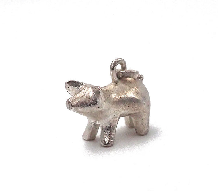 pig charm sterling silver