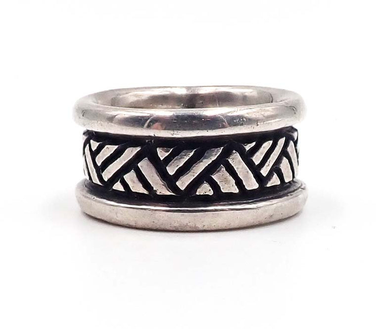 Silver Cross Hatch Ring