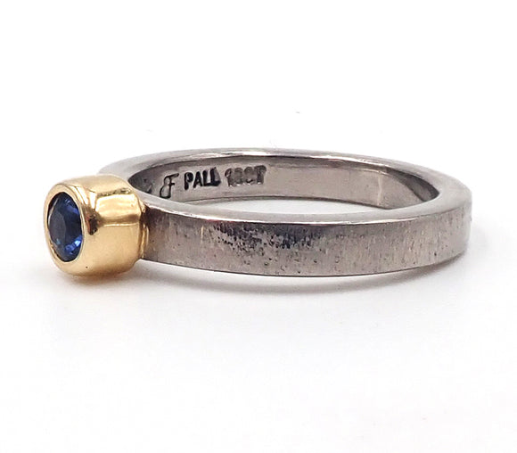 Narrow Sapphire and Palladium Ring