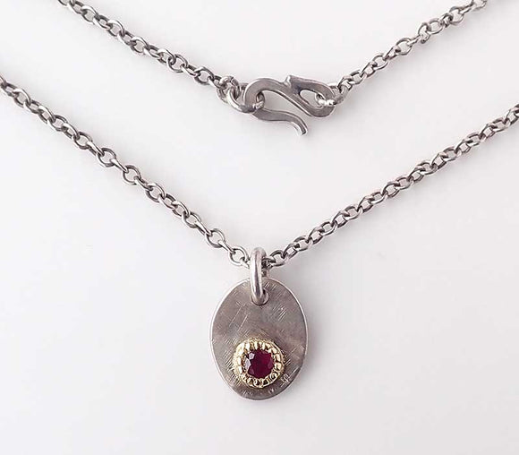 Ruby Oval Tag Pendant