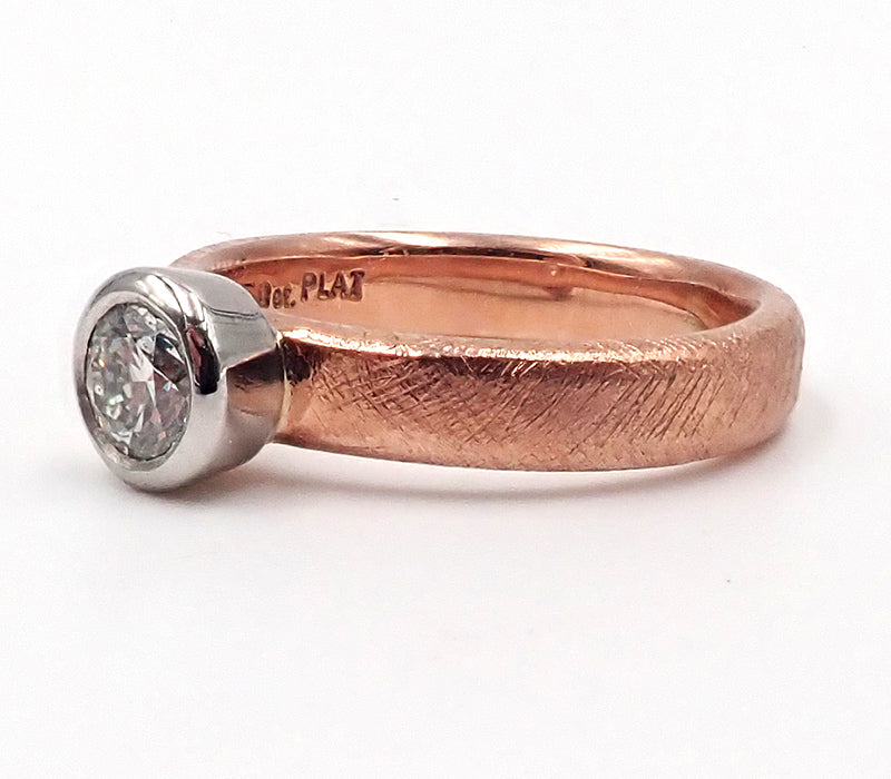 Red Gold and Platinum Diamond Ring