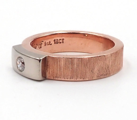 Red and White Gold Engraved Diamond Ring