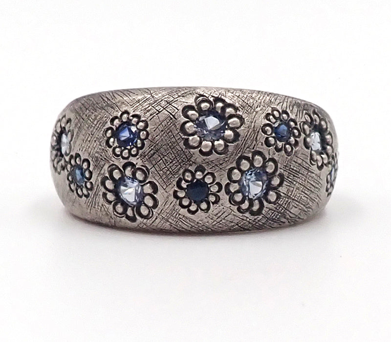 Silver Domed Maisy Ring with Sapphires