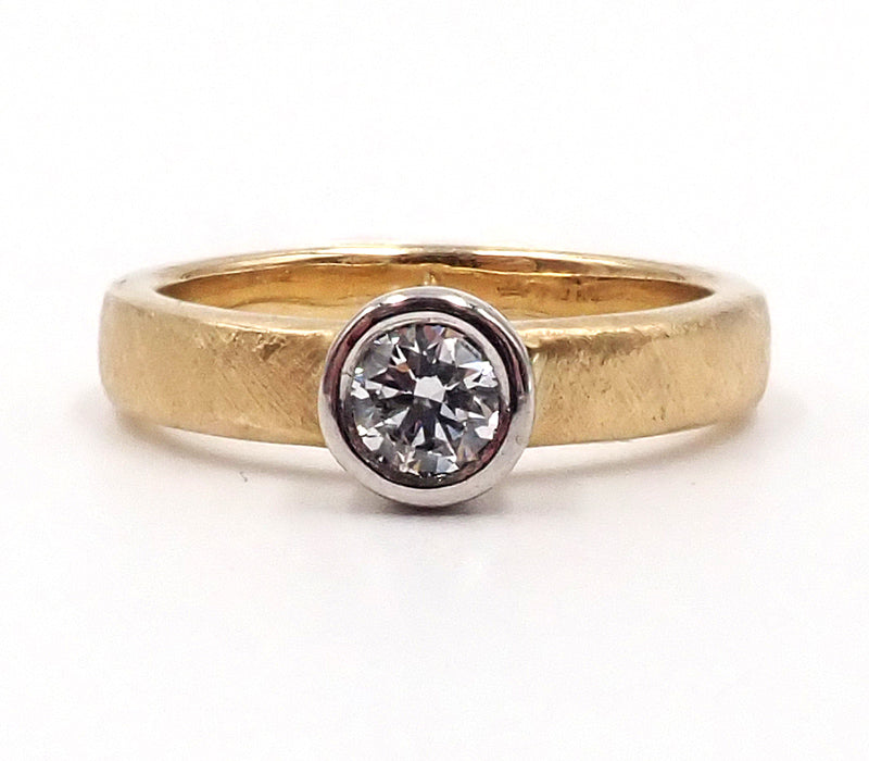 Yellow Gold and Platinum Diamond Ring