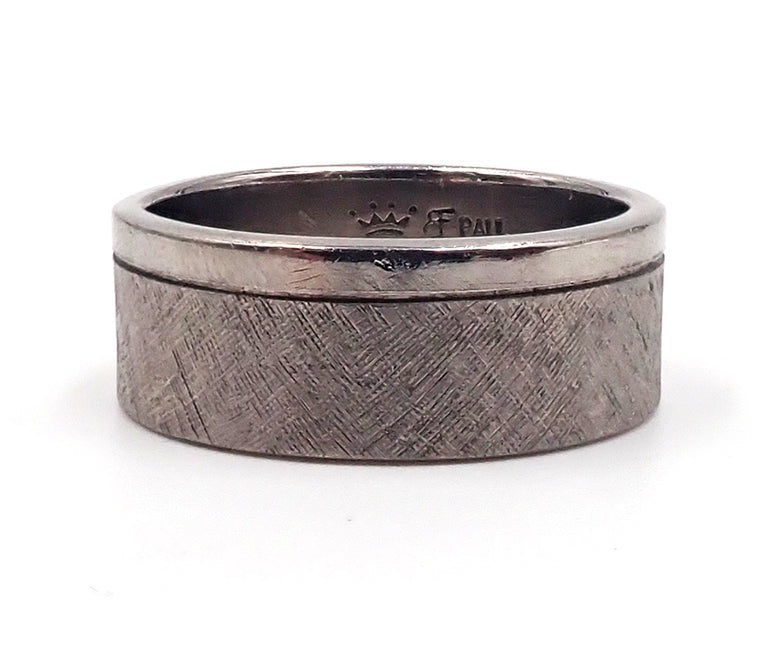 Wide Engraved Palladium Band