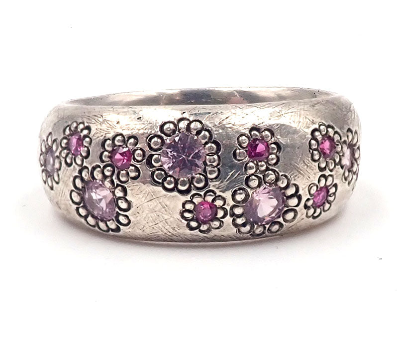 Silver Domed Maisy ring with Pink Sapphires