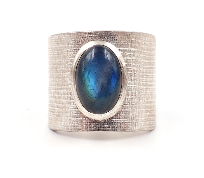 Wide Labradorite Ring
