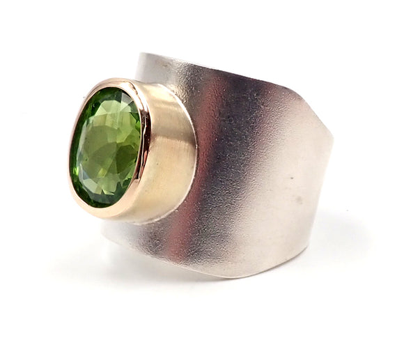 Wide Peridot Ring