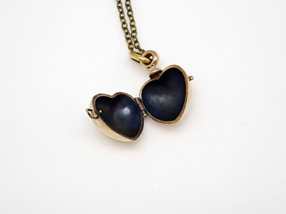 Heart locket charm in bronze