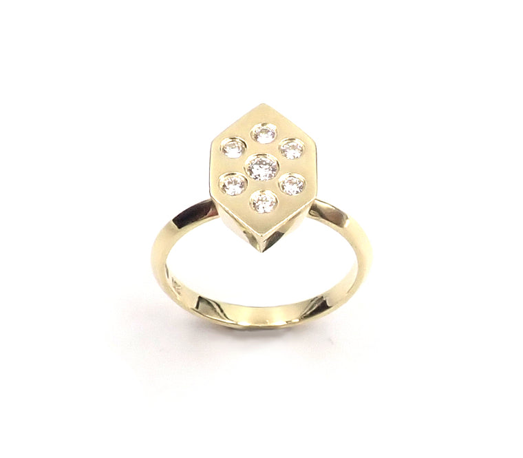 Hex Diamond Cluster Ring