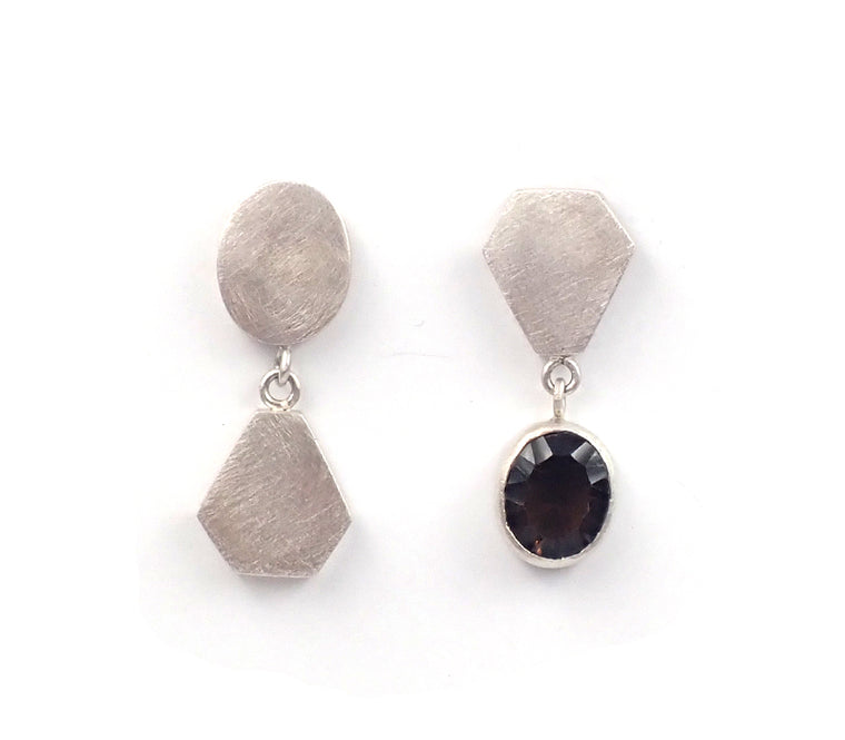 Asymmetrical Smokey Quartz Studs