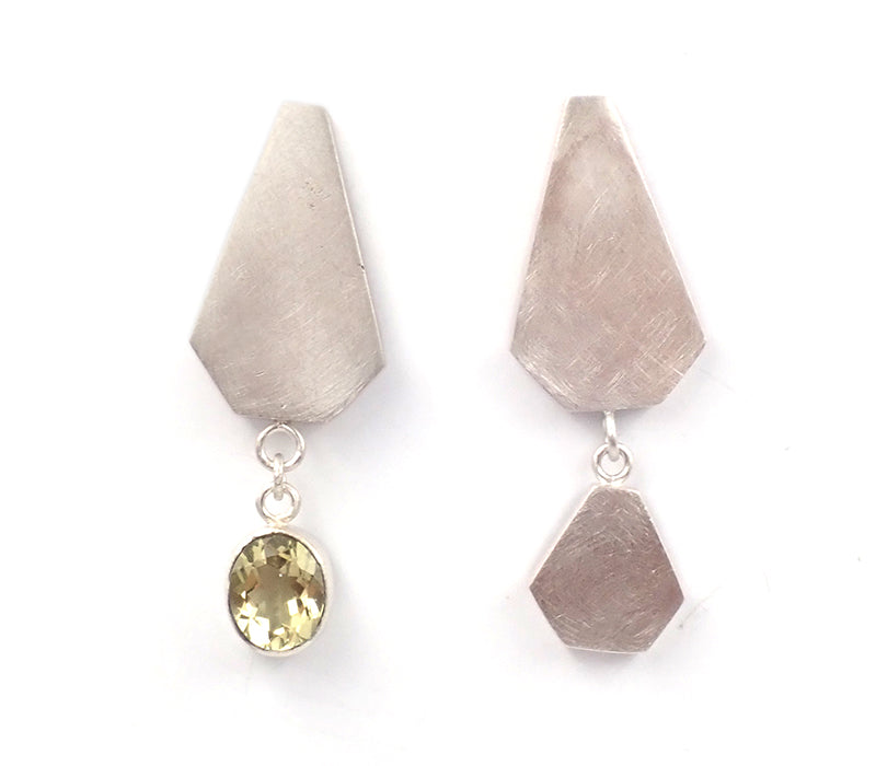 Asymmetrical Lemon Quartz Studs