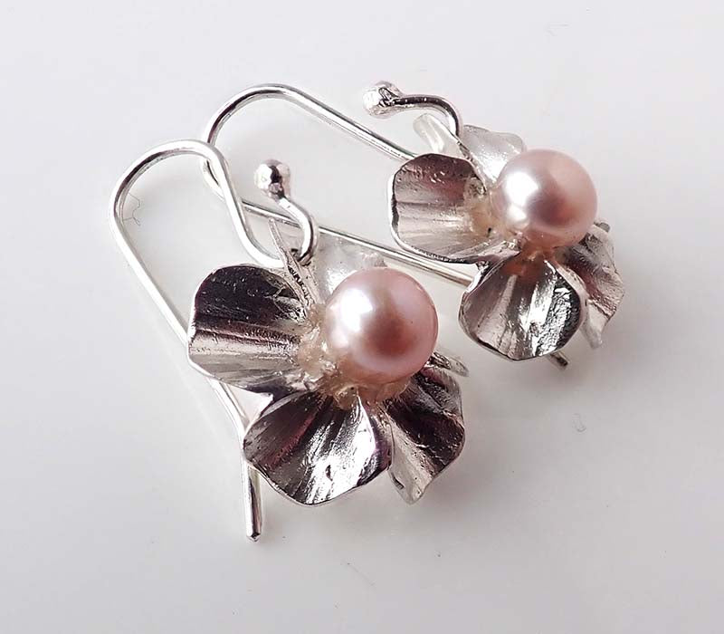Cherry Blossom Sakura Earrings, Pink Pearls
