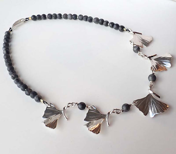 Ginkgo Five Leaves Necklace