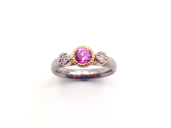 ben Flynn pink sapphire diamond ring handcrafted New Zealand Jewellery