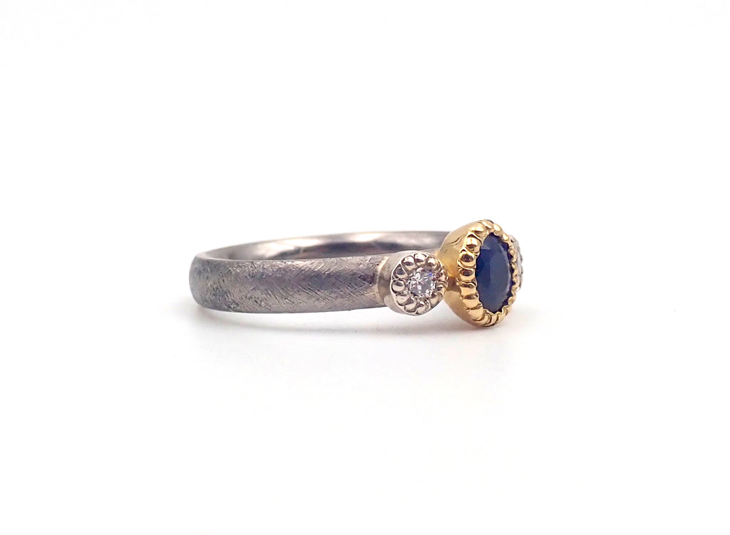 ben Flynn Blue sapphire diamond ring handcrafted New Zealand Jewellery