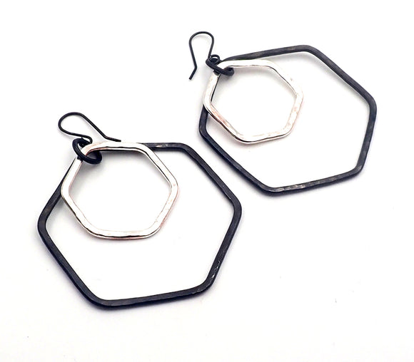 Hex Hoop Earrings