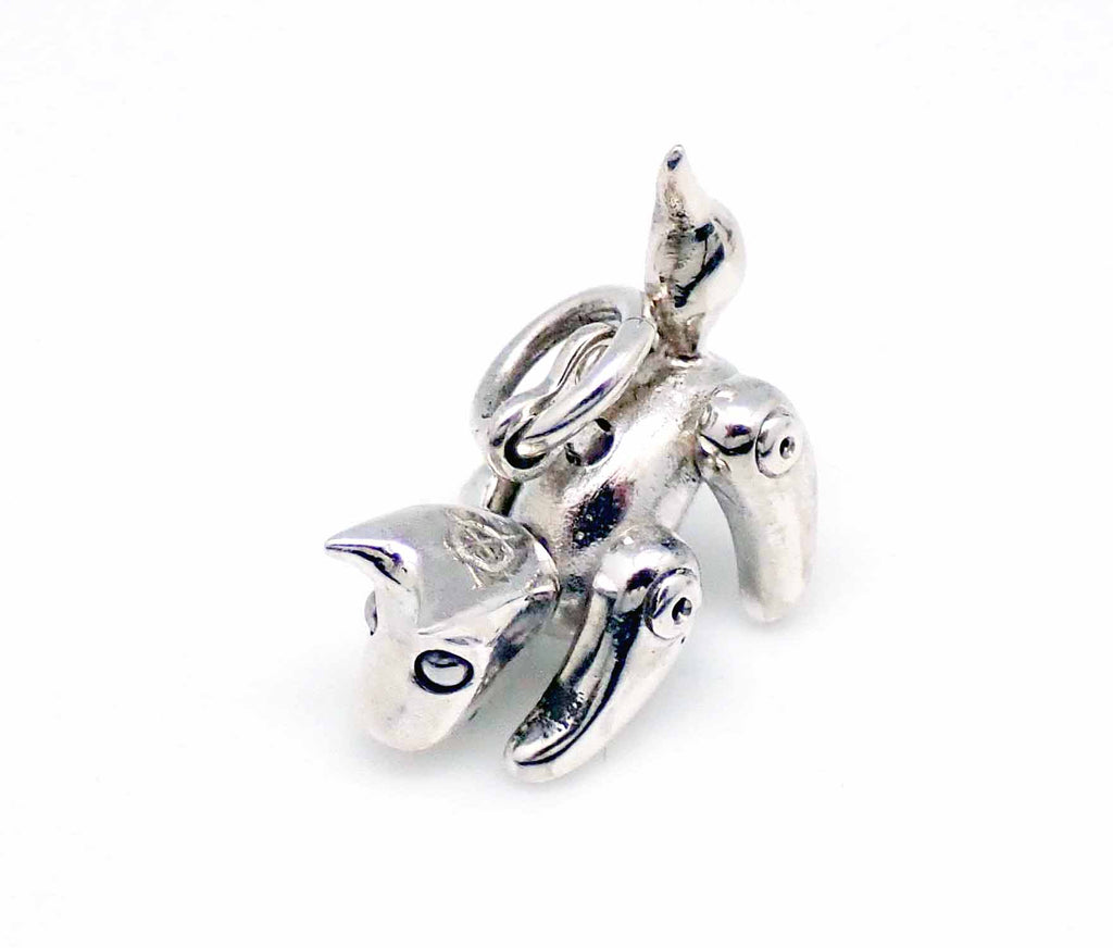 Robo puppy charm in sterling silver