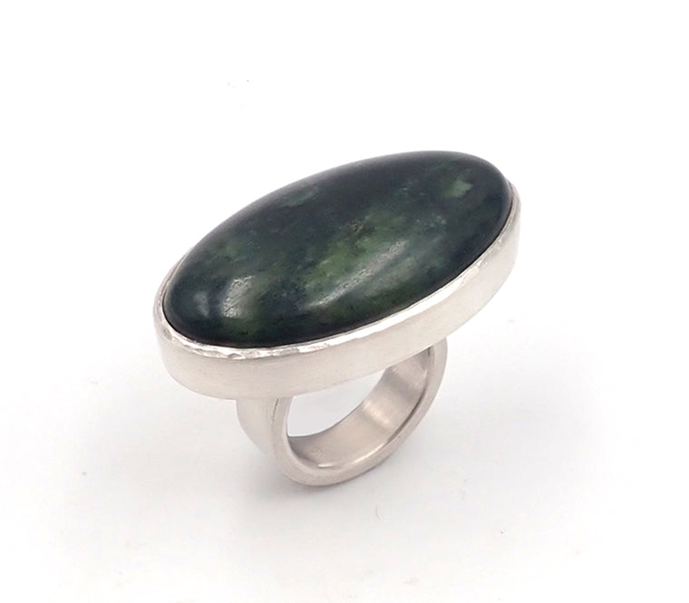 Deep Oval Pounamu Ring