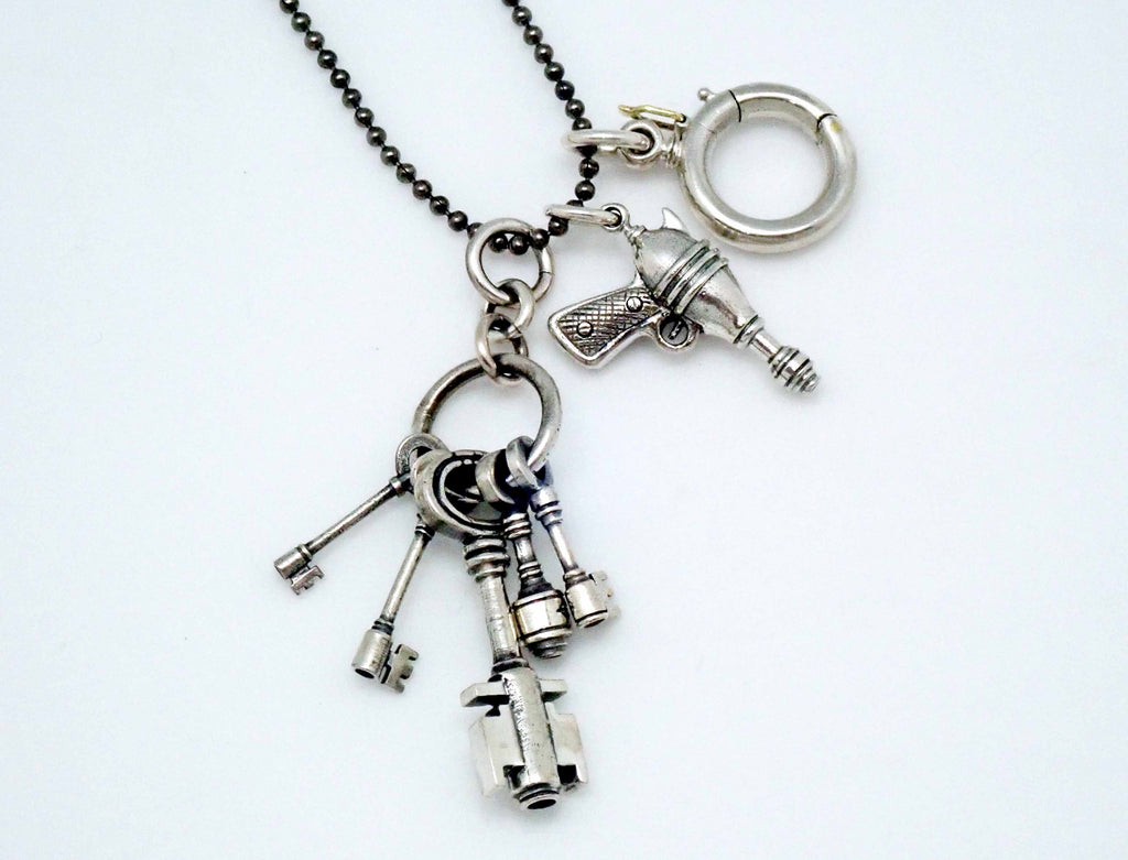 Ray gun charm in sterling silver