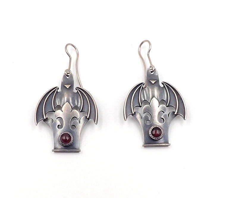 Crown and bat hook earrings Lisa west