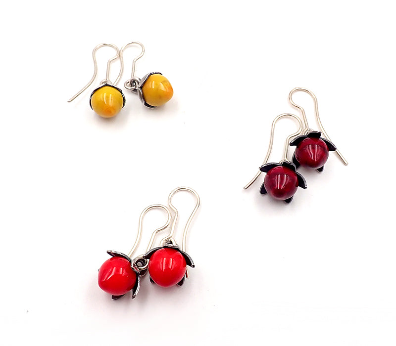 Dark Red Berry Earrings