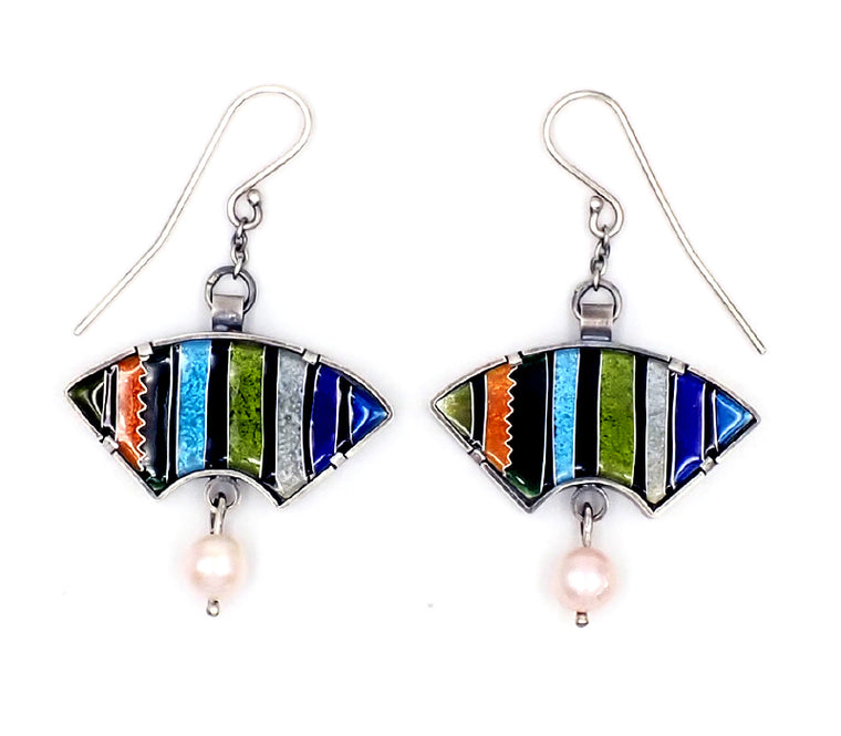 Stripe Fan Earrings