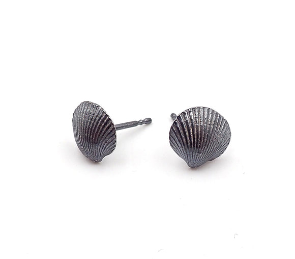Ilse-Marie Erl oxidised silver shell stud earrings