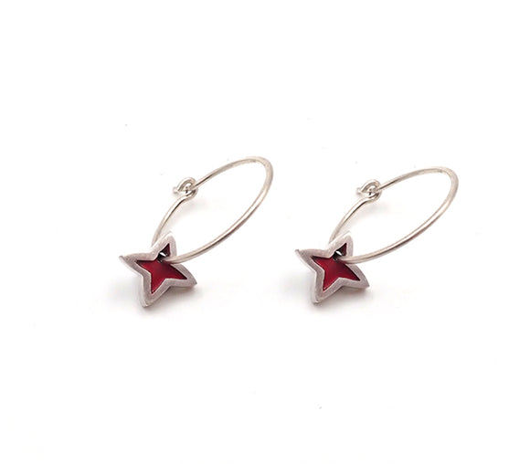 Red Pacific Flower Earrings
