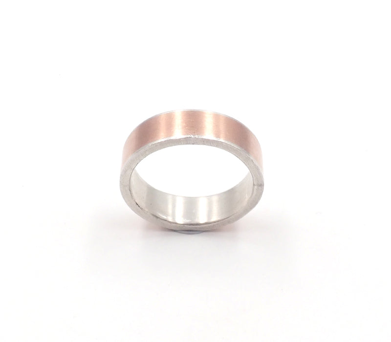 Rose gold and silver ring