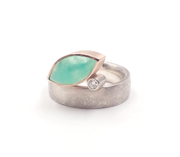 chrysoprase ring gold sterling silver nz jewellery Ursula Grube