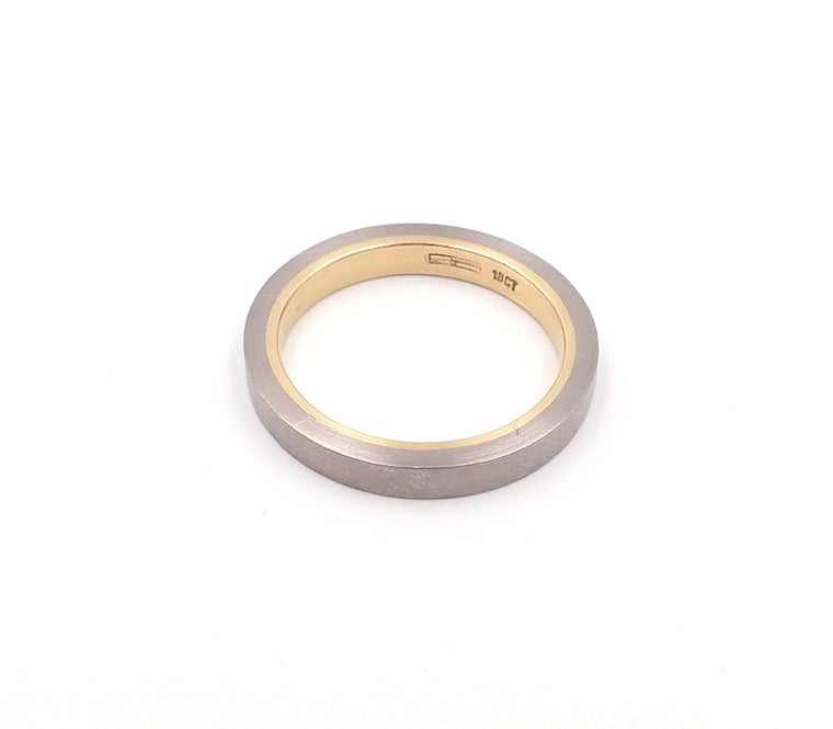 White and Yellow Gold Double Sleeve Ring
