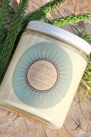 White Sage and Eucalyptus Scented Soy Candle