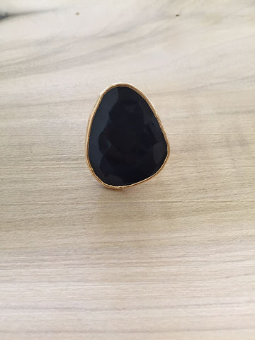 ONYX adjustable gold dipped ring