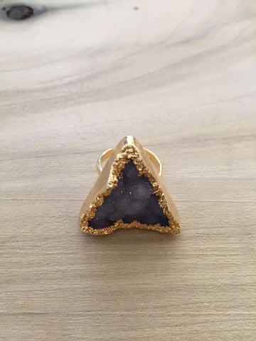 Triangle DRUZY QUARTZ adjustable gold dipped ring