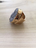 Chunky DRUZY QUARTZ adjustable gold dipped ring