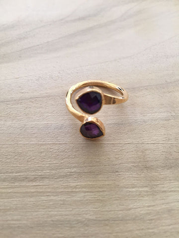 AMETHYST adjustable gold dipped ring