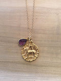 ARIES Amethyst Zodiac Pendant Necklace
