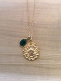 CANCER Emerald Zodiac Pendant Necklace