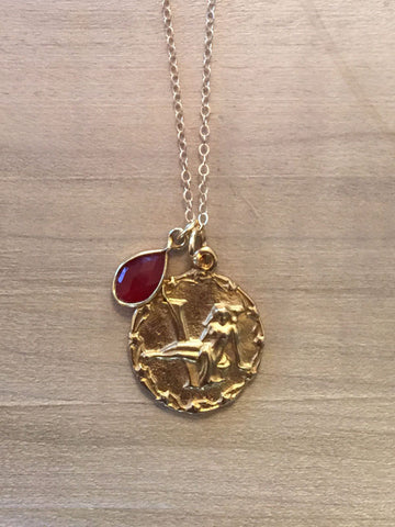 VIRGO Carnelian Zodiac Pendant Necklace