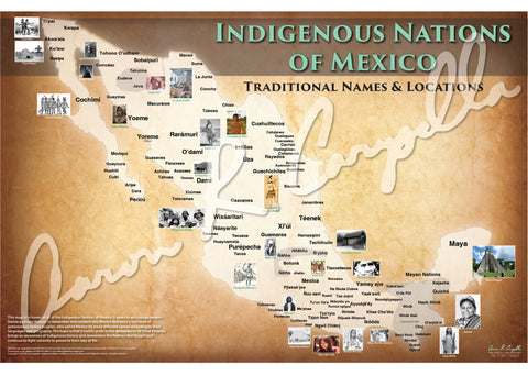 Mexico - Indigenous Nations of Mexico Map - Native Names Only