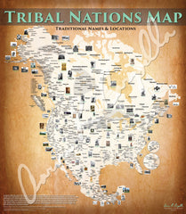 North America - Tribal Nations Map - Native Names Only